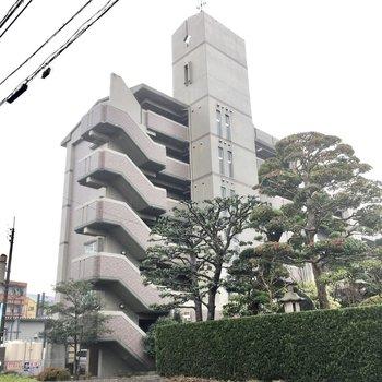 大通り近くにある5階建てのマンションです。
