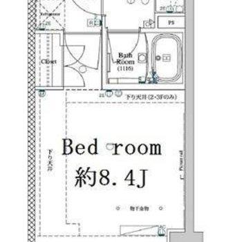 1人暮らしにぴったりの1Kのお部屋。