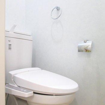 トイレの壁は水色で爽やかに。