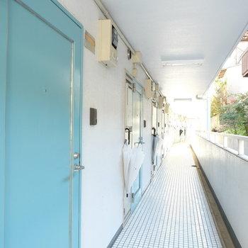共用部に水色の扉がならんでます