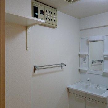 上に棚もありました◎洗剤などを置いて。