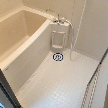 お風呂は家族で入るにはコンパクト。くっついて入りましょう!