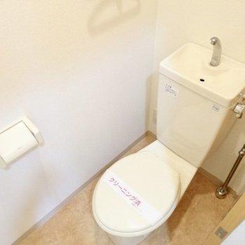 トイレの上にも同じような収納が!シンプルなのだ。