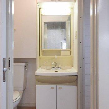 洗面台は上下に収納がついています。(※写真は3階の同間取り別部屋のものです)