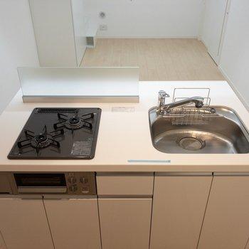 キッチンは2口ガスコンロで収納もなかなか。作業スペースが若干狭いかな。