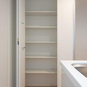 さらに左手には収納棚が。食材などをどうぞ。※写真は1階の同間取り別部屋のものです