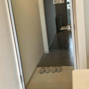 ドアがスケルトンでお洒落!※写真は同間取り別部屋です