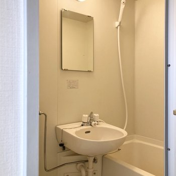 鏡とシャワーカーテン用のパイプも付いています。