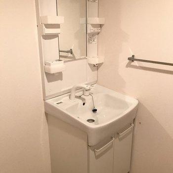 洗面台はこちらです。※写真は2階の反転間取り別部屋のものです。