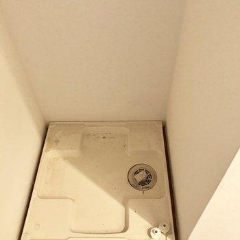 奥にひっそりと洗濯機!上に収納はありません。