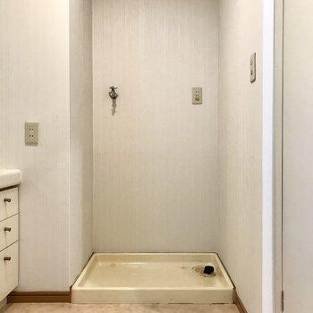 洗濯機も同じスペースに。