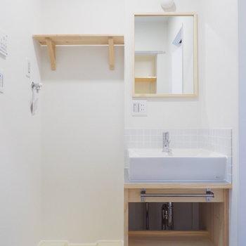 洗面台と洗濯機が横並びに※写真は前回募集時のもの