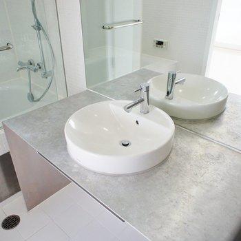 洗面台は大きく。※写真は6階の同間取り別部屋のものです