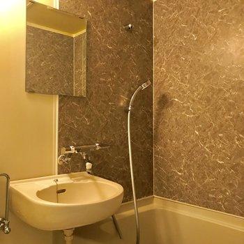 浴槽の壁もちょっとしたアクセントに