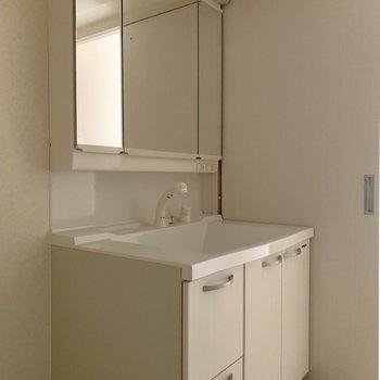 3面鏡だから左右のバランスが整えやすい。(※写真は12階の反転間取り別部屋のものです)