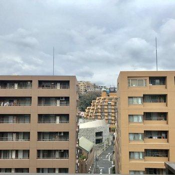 眺望。お向かいにも高い建物が。