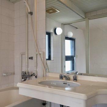 大きな鏡の洗面台。台に着替えなど置けますね。