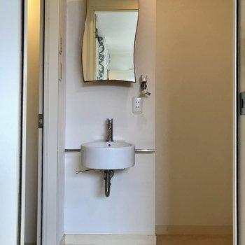 コンパクトだけど、ヨガった鏡も丸い洗面ボウルも可愛いから許しちゃう