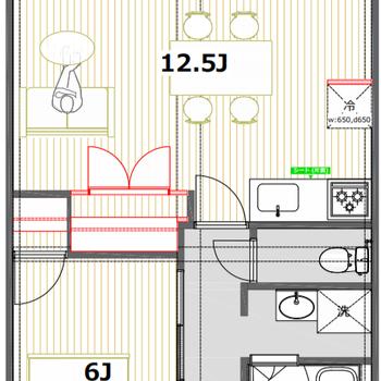 リビングが横長なので、間取り配置しやすい1LDKタイプ