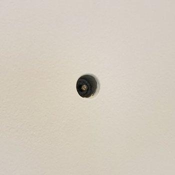 コンクリートの壁にはフックなどを取り付けられる穴が空いています。