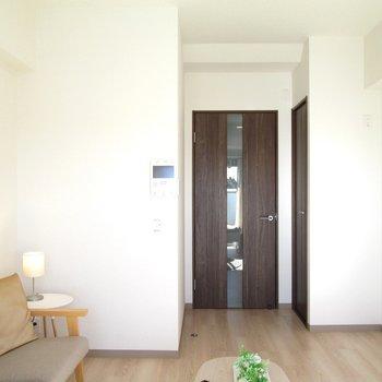 扉はブラウン調です。※写真は6階の反転間取り別部屋、モデルルームのものです