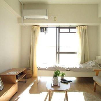 光もしっかりと入ります!※写真は6階の反転間取り別部屋、モデルルームのものです