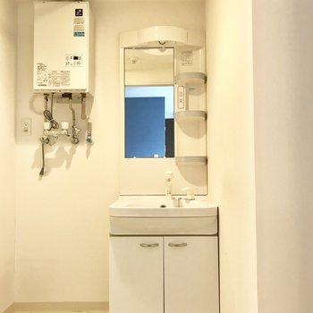 洗面台の横には洗濯機を