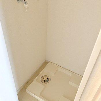 扉の中に洗濯機置き場があります。