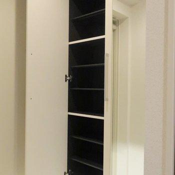 上から下までしっかりと。鏡付きなのも嬉しい。※写真は4階の同間取り別部屋のものです