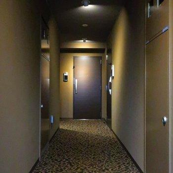 エレベーターを降りると雰囲気のある、絨毯引き。