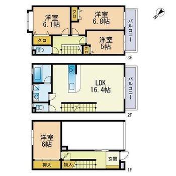 3階建てでお部屋もたくさん!