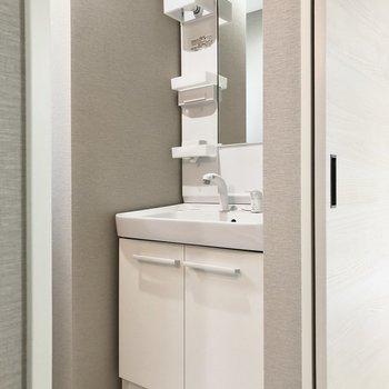 使いやすそうな洗面台。※写真は1階の反転間取り別部屋・前回募集時のものです