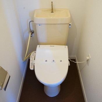 トイレはウォシュレットつき!※写真は反転で似た間取りの204号室です