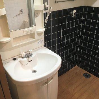 洗面台横が洗濯機置場