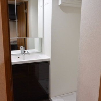 洗面所兼脱衣所そのまま洗濯できます。※写真は2階の同間取り別部屋のものです。