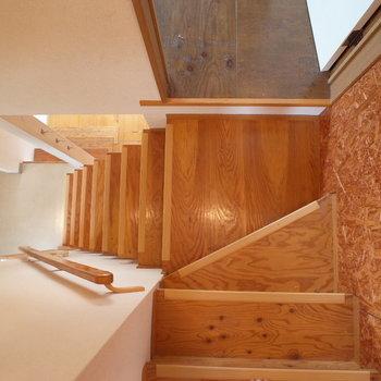 階段も手すりがあってしっかり※写真は1階の同間取り別部屋、清掃前のものです