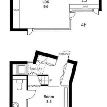 メゾネットタイプ。3階が寝室かな〜