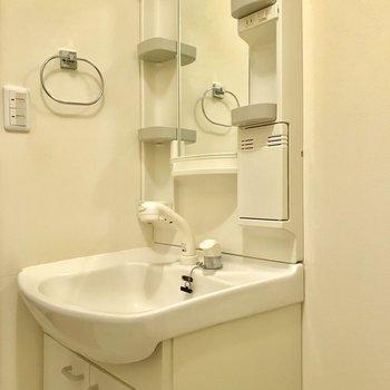 コンパクトな洗面台にはタオル掛けも付いています