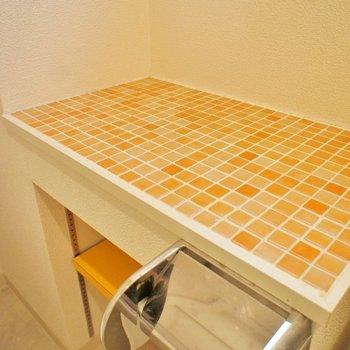 洗面はオレンジで。※写真は別部屋