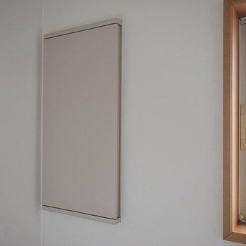 トイレの壁にもバッチリ収納スペース。ベランダ