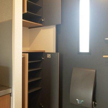 シューズボックスは上下に2段。靴がたくさん入りそうです。※写真は2階の同間取り別部屋のものです