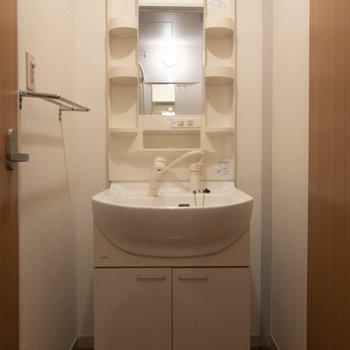 洗面台は収納がたくさんあって嬉しい。※写真は2階の同間取り別部屋のものです