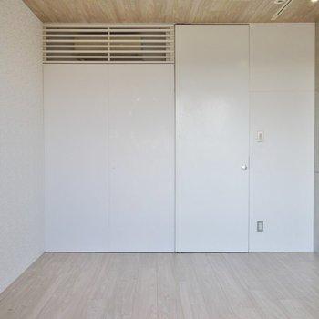 右が収納で真ん中にも扉あります。※写真は同間取り別部屋のものです
