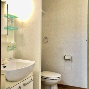 脱衣所に洗面台とトイレが