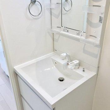 どっしり洗面台で朝の支度もラクラクです。(※写真は1階同間取り別部屋のものです)