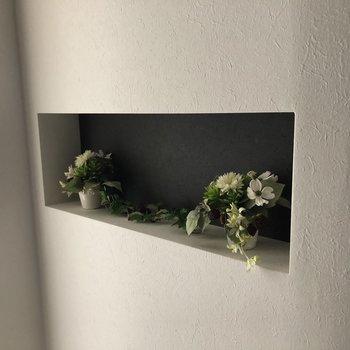 季節のお花など飾れるスペースが(※通電前の写真です)