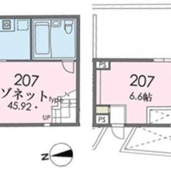 コンクリート打ちっぱなしのメゾネットなお部屋です。