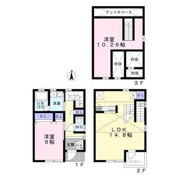 3階まであるメゾネットのお部屋です。