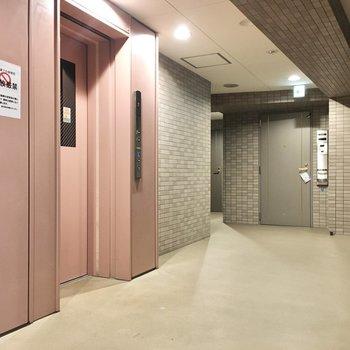 共用部】内廊下で雨の心配もなし。
