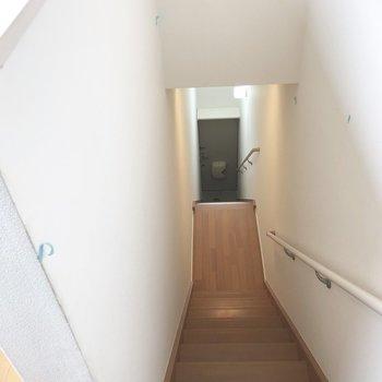 階段。あわてずゆっくり降りましょう…!